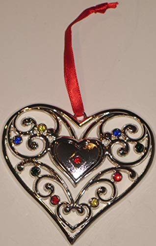 (Lenox Silverplate Sparkle and Scrolls Heart Ornament)