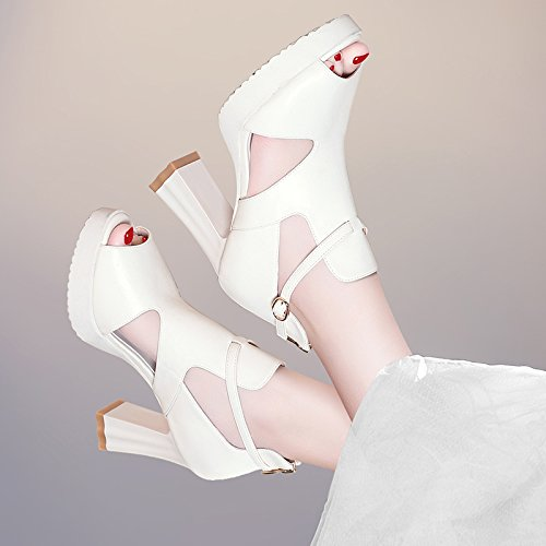Jqdyl High Heels Sandalen weiblichen Sommer neue High Heels dick mit wasserdichten Plattform Fisch Mund Wort wilde Schuhe  36|A beige