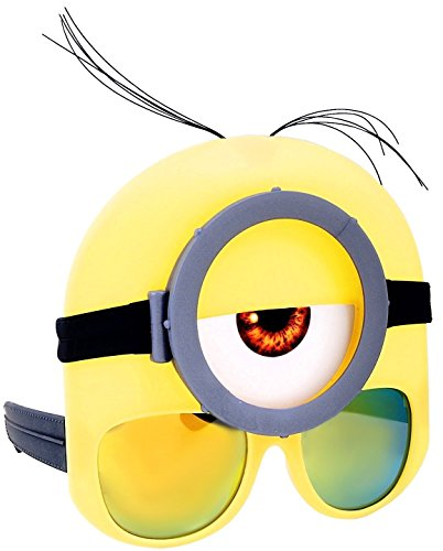 Official Stuart Minion Sunglass Shades Mask Costume Goggles Party Costume Novelty Accessory for Children & Adults Ages 8 and Up, Yellow, One Size