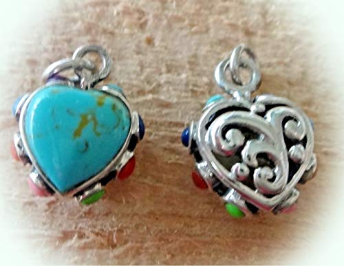 (Sterling Silver 3D 16x13mm Reversible Turquoise Color Heart + Edge Stones Charm Vintage Crafting Pendant Jewelry Making Supplies - DIY for Necklace Bracelet Accessories by CharmingSS)