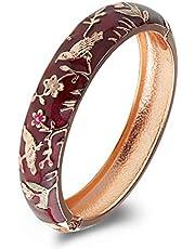 UJOY Colors Cloisonne Bracelet Handcraft Jewelry Enamel Spring Hinge Women Girls Bangle Birthday Gifts Box