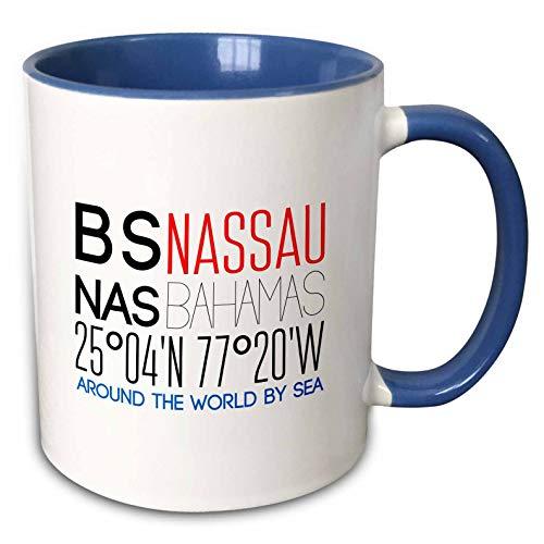 3dRose Alexis Design - Around The World By Sea - Decorative text BS NAS Nassau, Bahamas, geographic coordinates - 15oz Two-Tone Blue Mug (mug_303819_11)