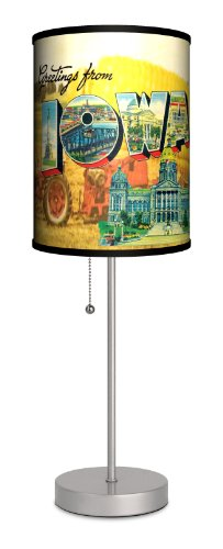 Travel - Iowa Postcard Sport Silver Lamp by Lamp-In-A-Box