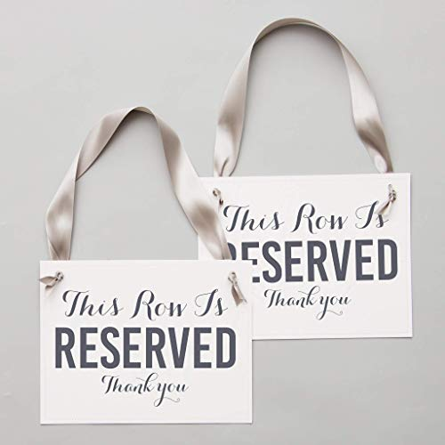 Set of 2 Reserved Row Chair Signs for Wedding Ceremony or Party Event]()