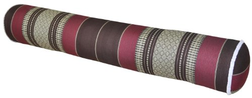 Thai cushion round bolster, pillow, sofa, imported from Thaïland, brown/burgundy, relaxation, beach, pool, meditation garden (82512) by Wilai GmbH