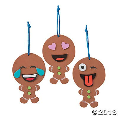 ((12 Kits) Emoji Gingerbread Man Ornament Craft)