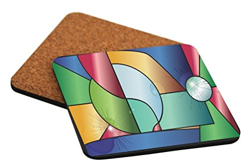 Rikki Knight Stained Glass Window with Reflections Design Cork Backed Hard Square Beer Coasters, 4-Inch, Brown, 2-Pack ()