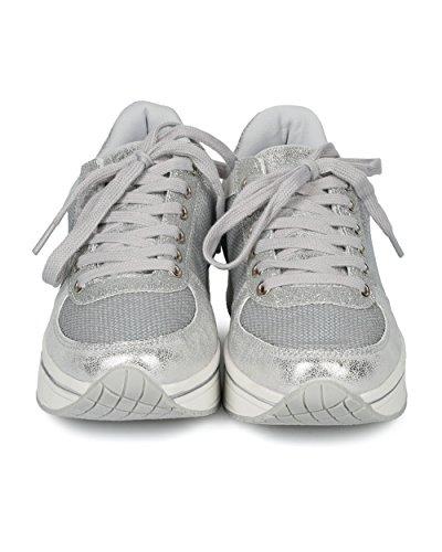 Sneaker Jogging Donna Con Paillettes E Glitter Alrisco - Hh10 By Qupid Collection Silver Mix Media