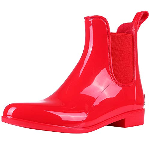 Evshine Women's Short Ankle Rain Boots Lightweight Chelsea Rain Boots Rubber Waterproof Booties RD36 Red