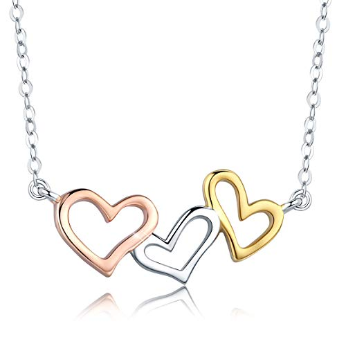 Three Tone Necklace - SIMPLOVE Triple Love Hearts Pendant Necklace, 925 Sterling Silver Three Tone Love Hearts Connected High Polish Chain Necklace 15