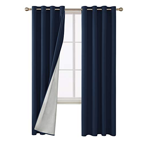 Deconovo Thermal Insulated Blackout Curtains Grommet Room Darkening Energy Efficient Panel Drapes with Silver Coating Back for Kids Bedroom 52W x 84L Inch Navy Blue 2 -