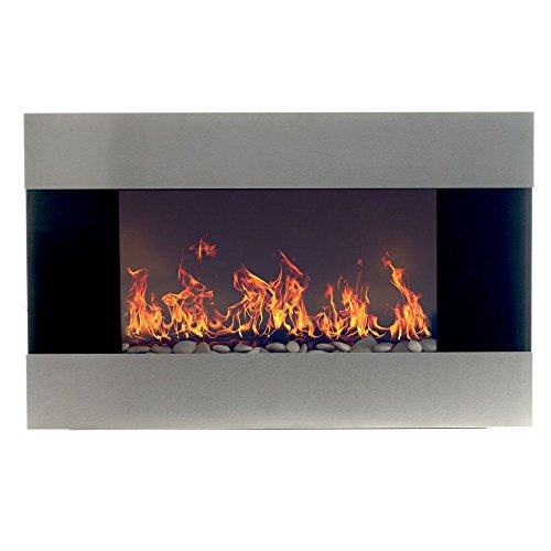 Cheap Stainless Steel Electric Fireplace with Wall Mount & Remote 35 x 22 1500W Black Friday & Cyber Monday 2019