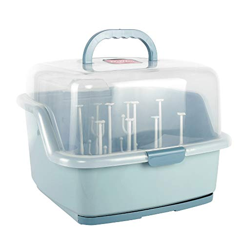 Lyonice Baby Bottle Drying Rack - Large Storage Box with Dustproof Cover, Baby Dinnerware Organizer - Sky Blue