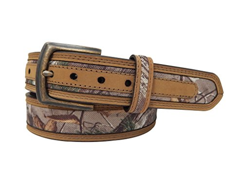 RealTree Camo Men's Camouflage Belt Tan Leather Trim, Realtree Xtra Camo, 34 (Camoflauge Belt)
