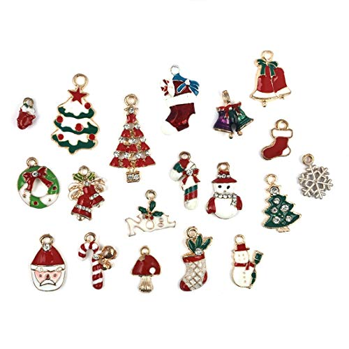 Christmas Collection Charms Pendants Mixed Gold Plated Findings for DIY Jewelry Findings Craft Supplies Bulk Lots 19pcs