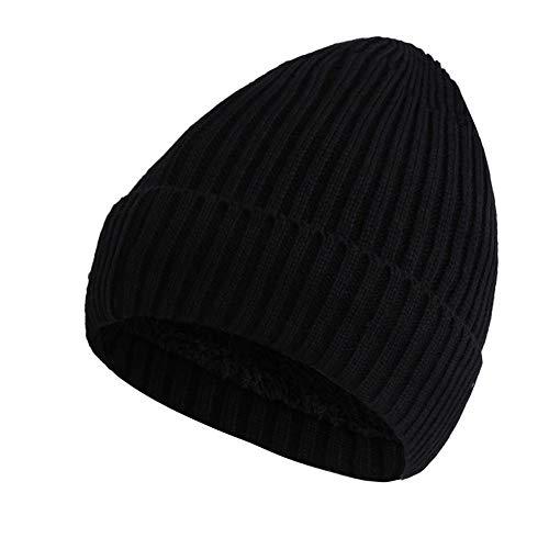Invierno Hombre Beanie Casquillo Sombrero Negro Punto Mujer Sombrero de Forrado Hombres Fleece para de Invierno Grueso Gorro Biback Tapa Mujer de wq5gIzP5