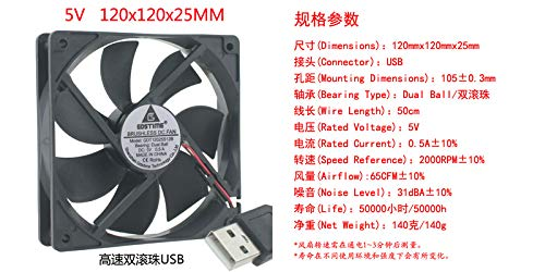 REFIT USB DC 5V 120MM 12CM 12cm cm Double Ball Bearing Desktop Simple Cooling Fan