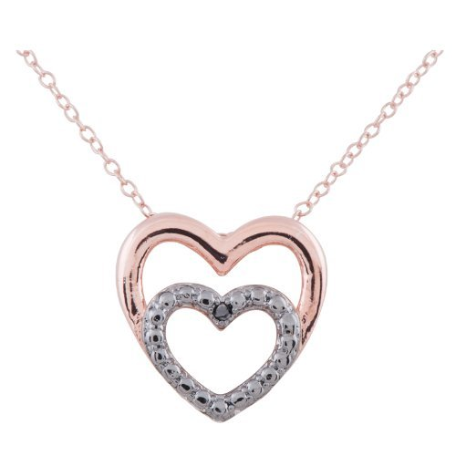 """Sterling Silver Black & Rose Gold Plated Double Heart Pendant with 0.01ct Black Diamond Accent on a 18"""" Link Chain"""