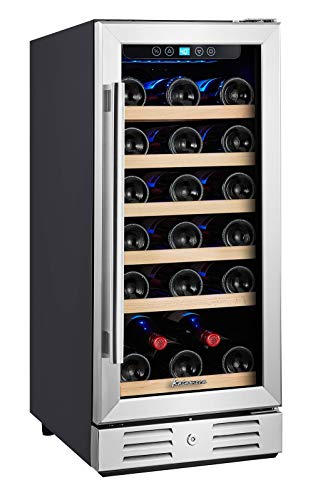 "Kalamera 15"" 30-bottle Built-in Compressor Wine Refrigerator Cooler Single Zone with Touch Control"