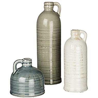 Sullivans 4-10  Primitive Set of 3 Decorative Distressed and Crackled Jugs in Blue, Grey, and White