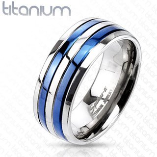 TIR-0013 Solid Titanium Blue IP Double Striped Band Ring; Comes With Free Gift Box (Double Stripe Wedding Band Ring)