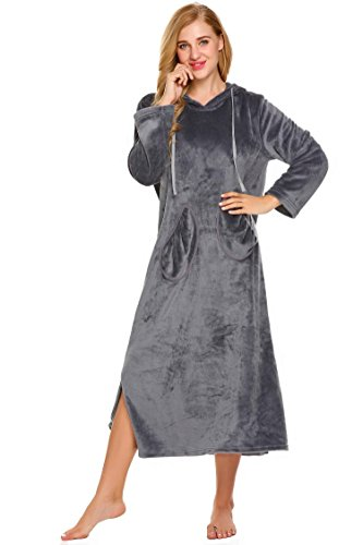 Womens Cotton Flannel Lounger (Dicesnow Women's Winter Thick Long Sleeve Nightgown Flannel Lounger Nightgown)