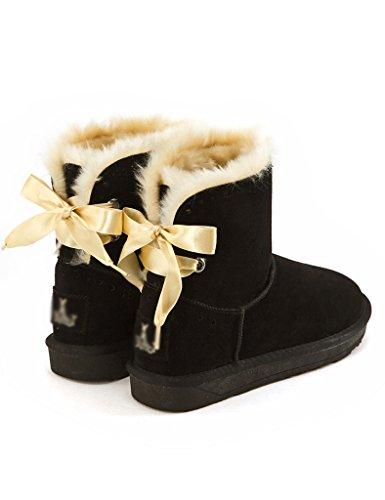 Invierno Mujer Albaricoque Negro Para Botas De PwOCPqFg