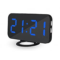 UBMSA Electric Alarm Clock, 6.5 Large Number Digital Alarm Clock Mirror Led Table Clock with Adjustable Brightness, 2 USB Charging Ports,Big SNOOZE Button for Bedroom Living Room Decor (Blue)