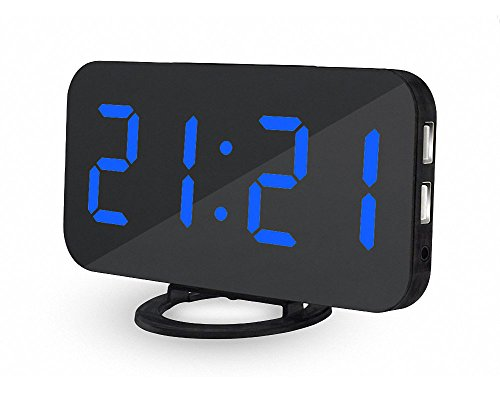 Deals Week Big Digital Alarm Clock UBMSA 6.5 Large Numbers Alarm Clock, Mirror Led Electric Desk Clock with Adjustable Brightness 2 USB Charging Ports Big Snooze Button for Bedrooms Decor Gift (Blue)