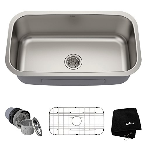 - Kraus KBU14 31-1/2 inch Undermount Single Bowl 16-gauge Stainless Steel Kitchen Sink