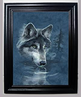 lone wolf drinking 3d framed wall art lenticular technology causes the artwork to have