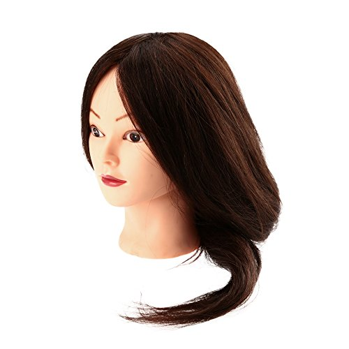 "23"" Long 90% Human Real Hair Dummy Head Hairdressing Training Model Brown Long Synthetic Hair Model with Clamp"