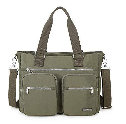 (Crest Design Water Repellent Nylon Shoulder Bag Handbag, 14 inch Laptop Bag Notebook Briefcase Travel Work Tote Bag (One Size, Army)