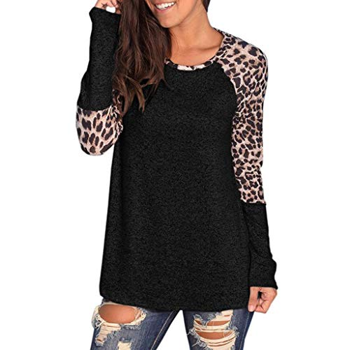 Baiggooswt Women Long Sleeve O-Neck Leopard Print Patchwork Casual Tunic Tops Loose Blouse