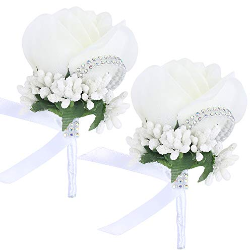 (Febou Boutonniere 2PCS Wedding Boutonniere Handmade Rose Boutonniere Corsage with Pin and Clip for Groom Bridegroom Groomsman Perfect for Wedding, Prom, Party (2 Packs, White))