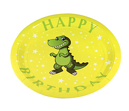 Dinosaur Party Supplies Set (Serves 20 | 60 Pieces) with Paper Plates, Napkins & Cups - Perfect for Boys Birthday Party