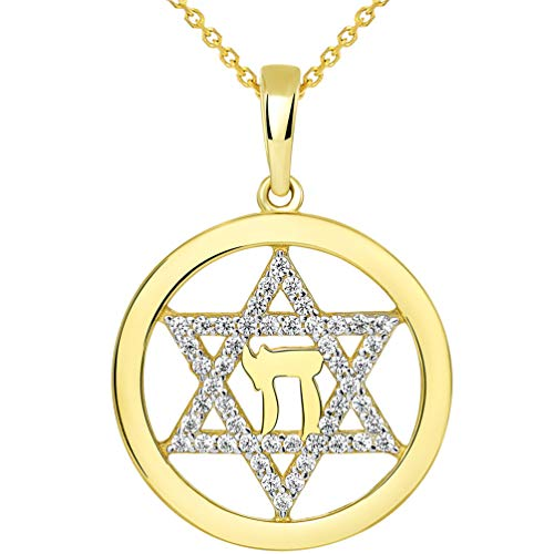 14k Yellow Gold Round CZ Jewish Star of David with Chai Symbol Pendant Necklace, 18