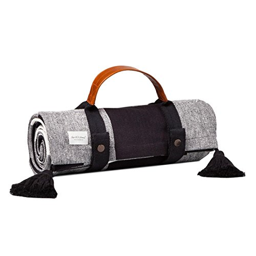 Black White Picnic Blanket with Handle Large Indoor Outdoor Foldup Hearth & Hand Magnolia by Hearth and Hand with Magnolia