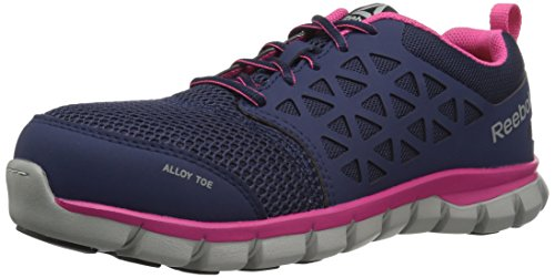 (Reebok Women's Sublite Cushion Work RB046 Boot, Navy Pink, 7.5 M US)