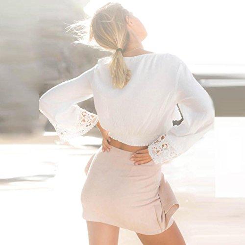Camicetta Collo Bianco Top Sciolto Signore Casuale LQQSTORE Sexy a Manica Pizzo Moda V Manica Donna Le Maglietta Autunno Lunga Blusa Lunga RFv17
