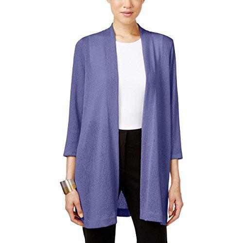 Alfani Womens Plus Knit Open Front Cardigan Sweater Blue XS