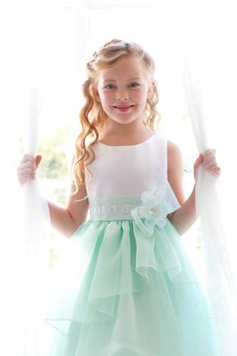 Amazon kid collection mint white flower girl dress size 2 12 6 kid collection mint white flower girl dress size 2 12 6 mightylinksfo Images