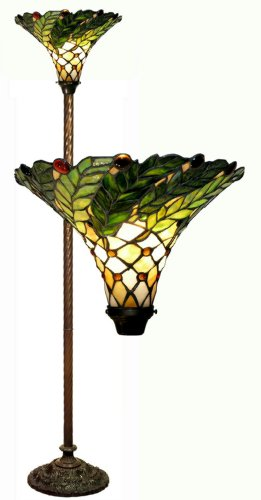 Warehouse of Tiffany's 3742-BB75B Green Leafy 60-Watt 67-Inch Torchiere Lamp - Antique Tiffany Floor Lamp
