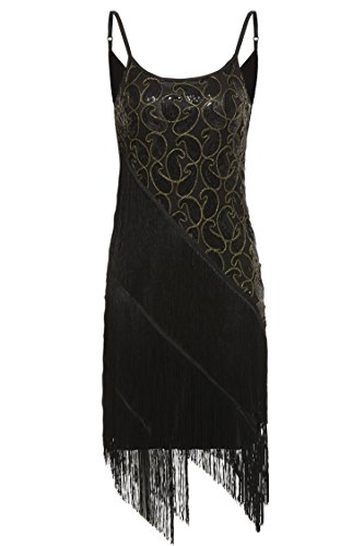 Sexy Flapper Dresses (ANGVNS Women's Vintage Sequin Paisley Pattern Tiered Tassel Gatsby Flapper Beads Sling Slim Midi Dress Black M)