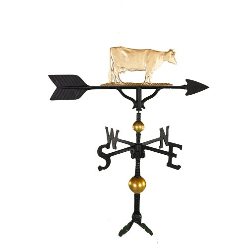 Montague Metal Products 32-Inch Deluxe Weathervane with Gold Cow Ornament