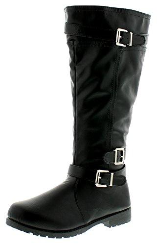 Mode Bottes Longue 8 Motard Jambe 3 Noir Pour Tailles Style Femmes Neuf Uk 708TAA