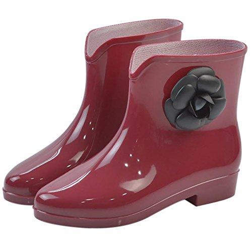 Qzunique Para Mujer Impermeable Goma Jalea Antideslizante Bota De Lluvia Hebilla Tobillo Zapatos De Lluvia Alta Flor Roja