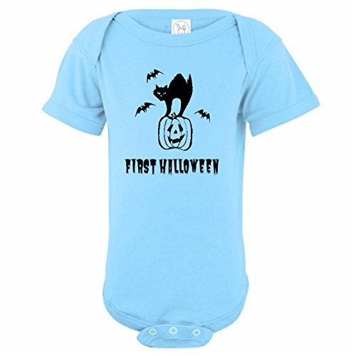 U.S. Custom Kids First Halloween Baby Onesie, 12 Months Onesie, Light Blue (Halloween Custom Onesie)