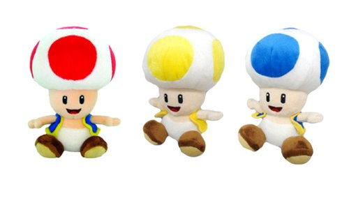 Little Buddy Super Mario Plush Doll Set of 3 - Toad, Yell...