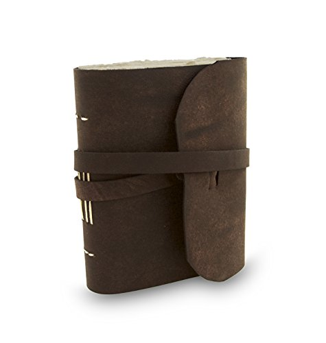 Everest Explorer Leather Writing Journal with Handmade Vintage Lokta Paper, Made in the Himalayas of Nepal, 5 x 6.5 inch, Medium